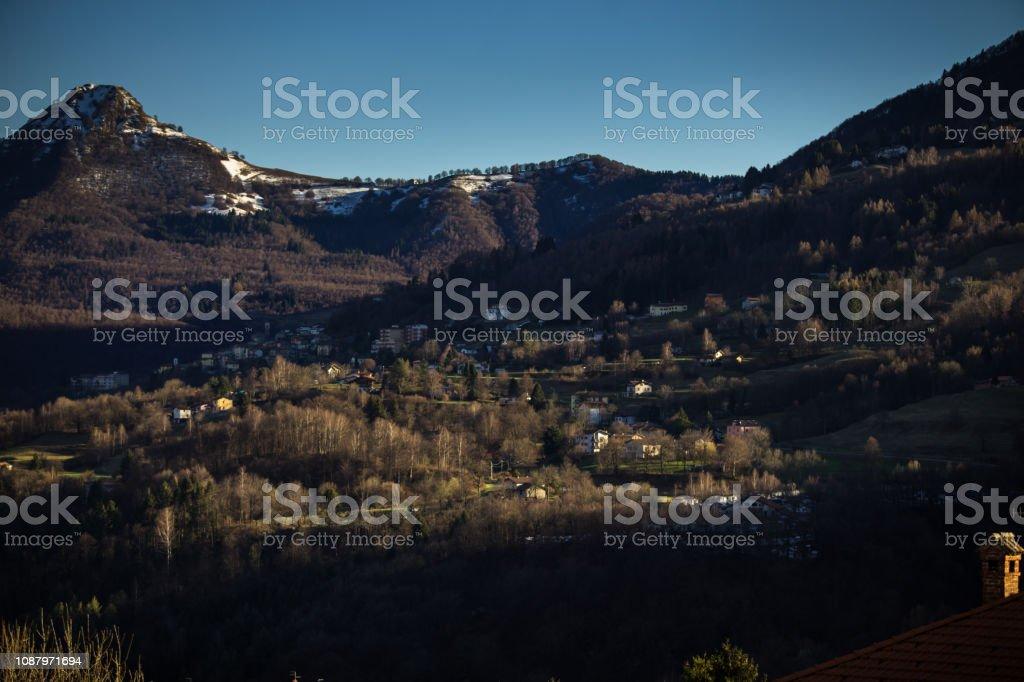 Casasco Intelvi on Cloudless Day in Winter stock photo