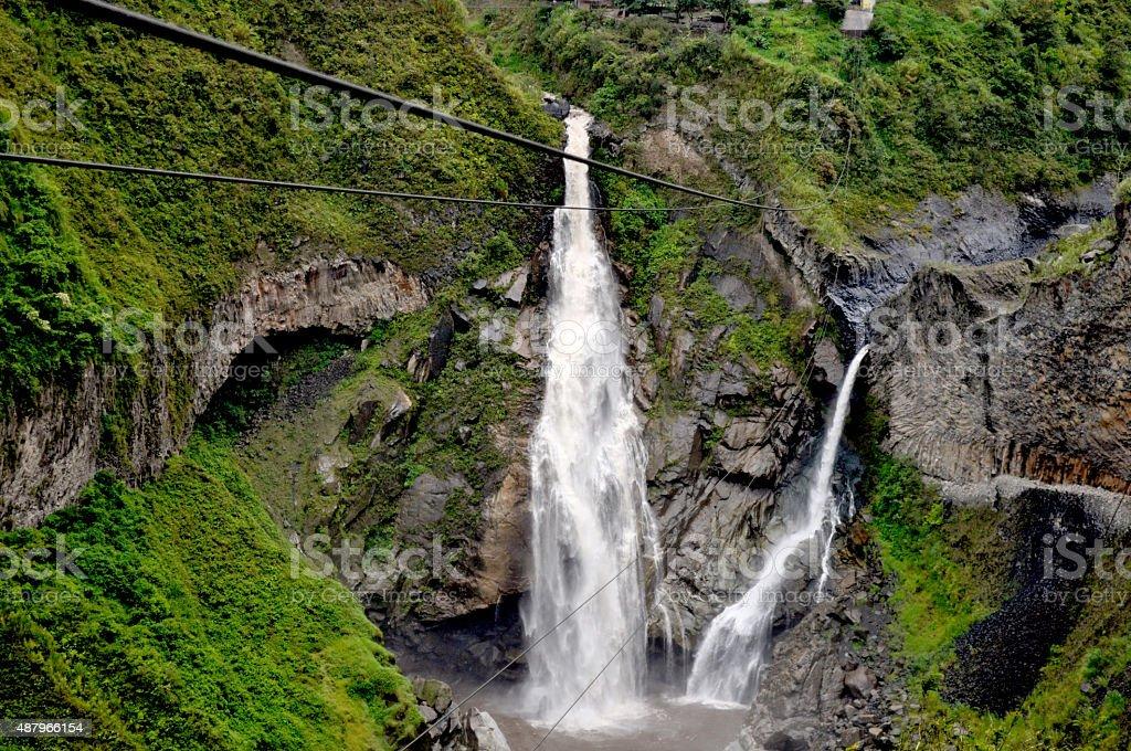 Cascada baños de Agua Santa stock photo