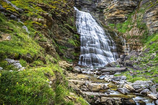 Cascada Cola de Caballo waterfall under Monte Perdido at Ordesa
