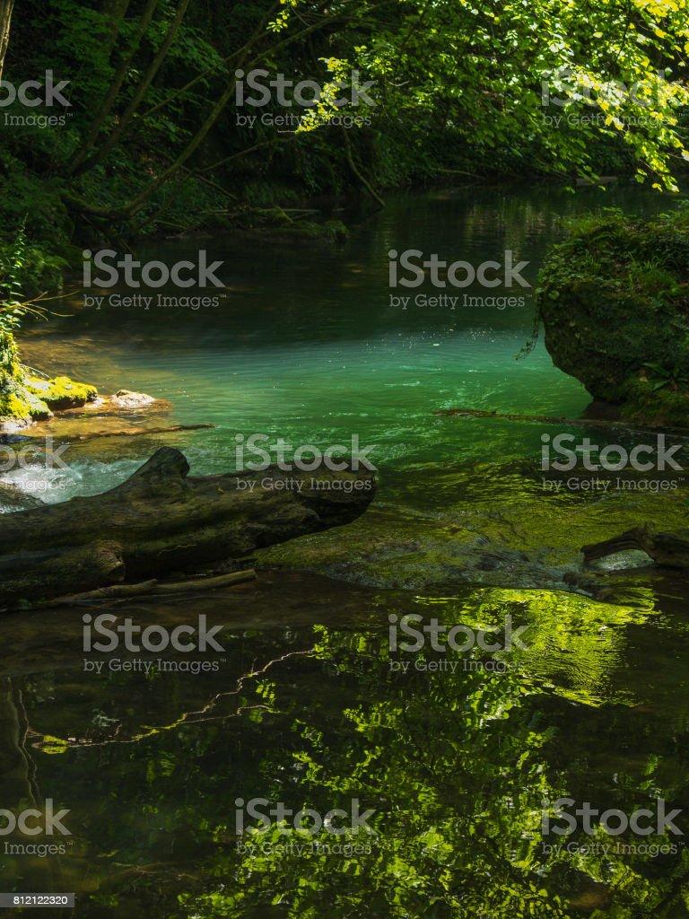 Cascada La Vaioaga in Cheile Nerei national park -Romania stock photo