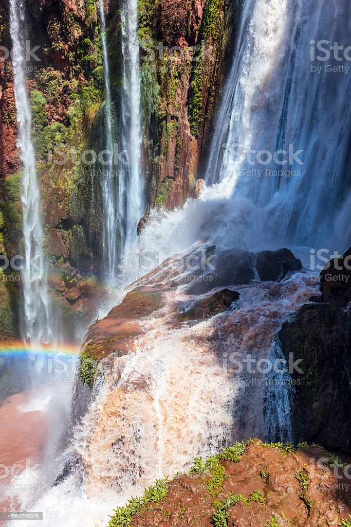 Cascade at Cascades D'Ouzoud waterfall  rainbow in Morocco North Africa stock photo