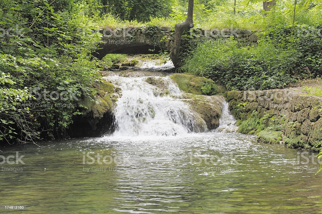 cascade creek with streaming water rocks and green Croatia Krka royalty-free stock photo