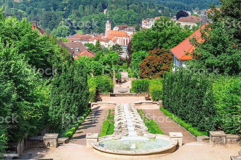 Cascade Fountain 'Water Paradise' in Baden-Baden. stock photo