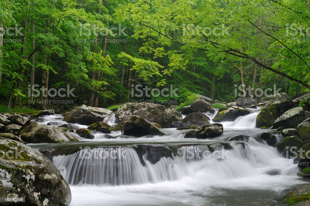 Cascade in Tremont at Great Smoky Mountains National Park stock photo