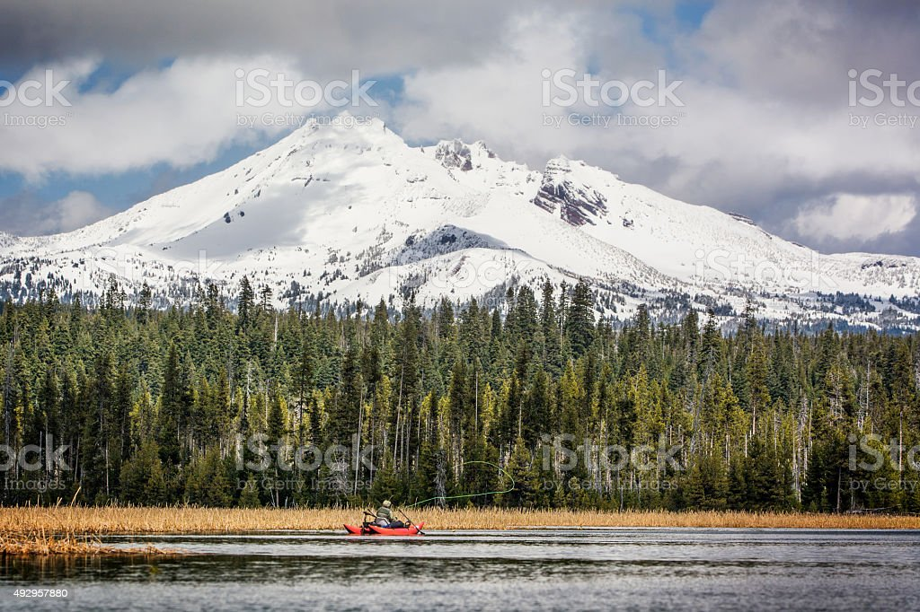 Cascade Lakes Fly Fishing stock photo