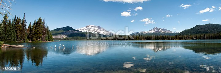 Oregon lake panorama with Mountains reflected on the clear water of the lake