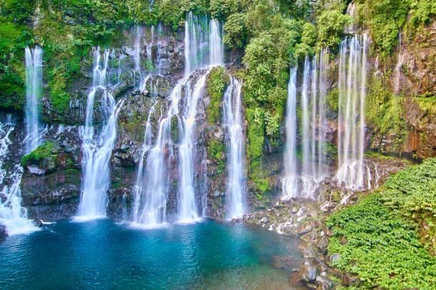 cascade langevin - reunion island - reunion stock photos and pictures