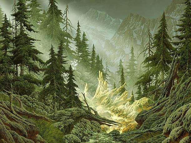 cascade mountain stream - waldmalerei stock-fotos und bilder