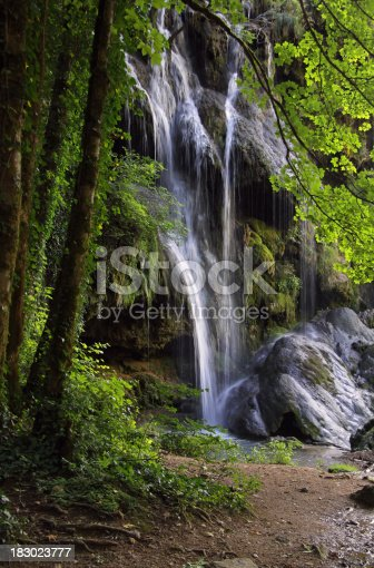 The waterfall of Baume-les-Messieurs  in France.Image taken with low exposure time.