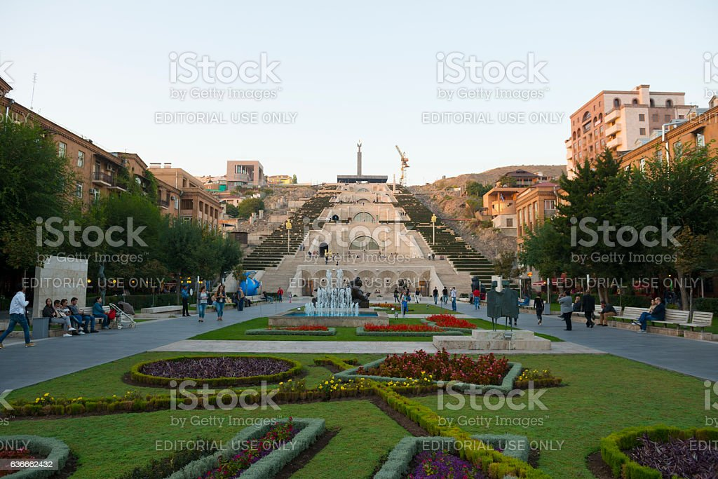 Cascade stairs in Yerevan, Armenia stock photo
