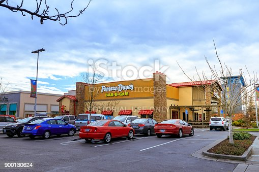 Portland, Oregon, United States - Dec 24, 2017 : Cascade Station Shopping Center at rainy day. it is located in Northeast Portland