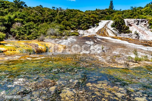 istock Cascade Terrace and Terracettes, Orakei Korako Geothermal Park & Cave at Hidden Valley, Taupo, New Zealand 1316819020