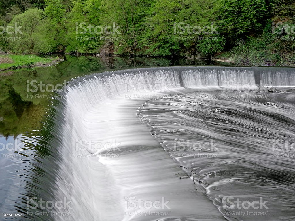 Cascade waterfall with running water stock photo
