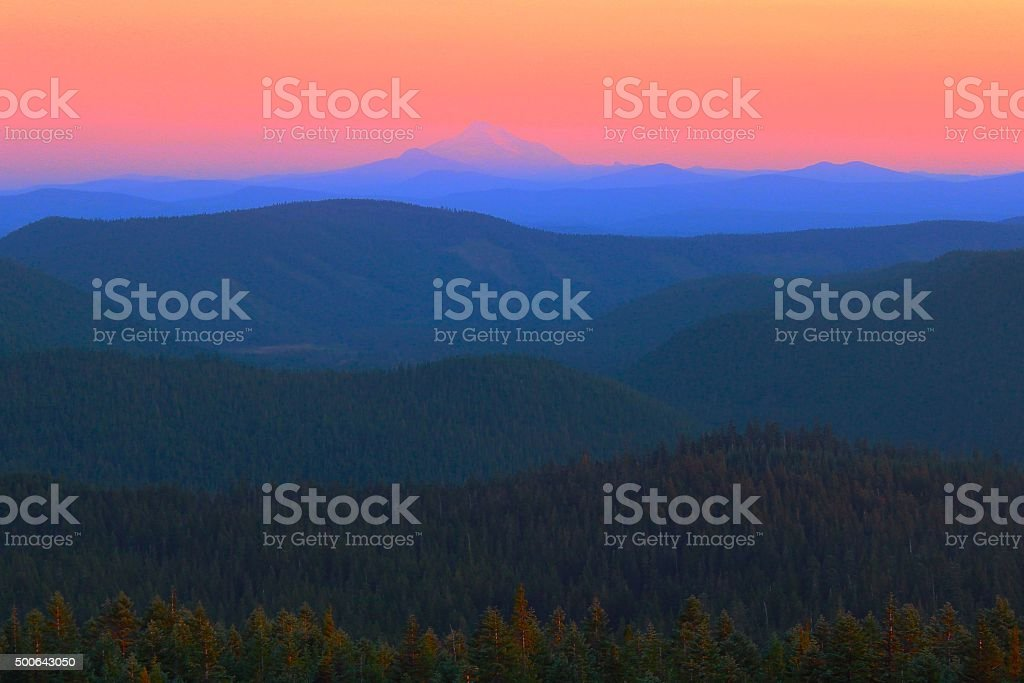 Cascades and Mount Jefferson Viewed at Sunset from Timberline Lodge stock photo