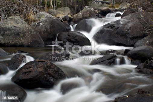 In this time exposure the waters of Glacier Creek above Alberta Falls cascade down through a series of boulders.