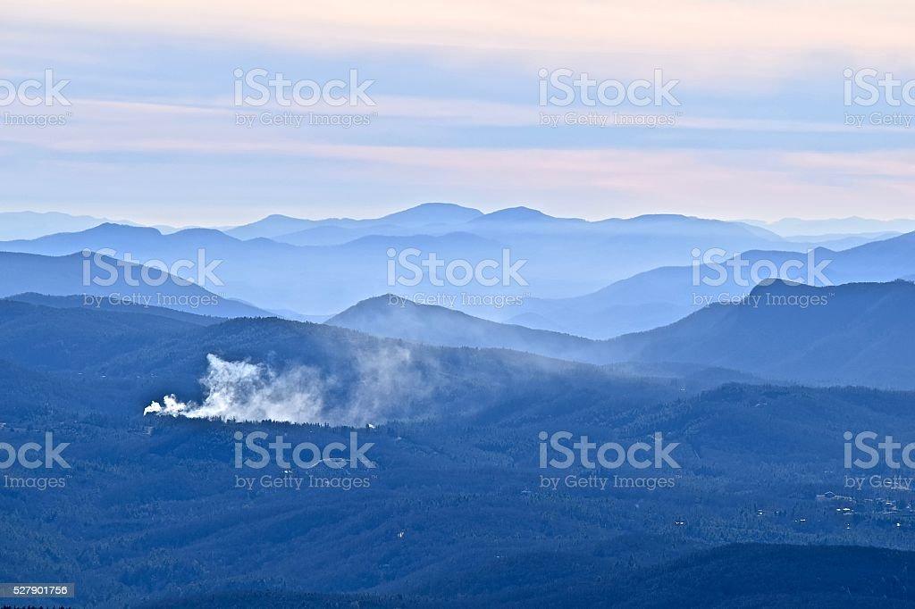 Cascading Blue Ridge mountains fade into horizon stock photo