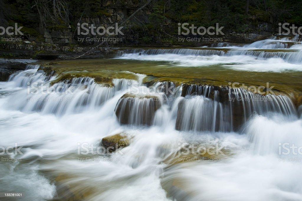 Cascading Waterfall Glacier National Park royalty-free stock photo