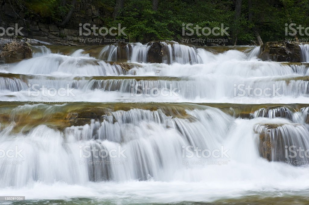 Cascading Waterfall Glacier National Park royalty-free stock photo