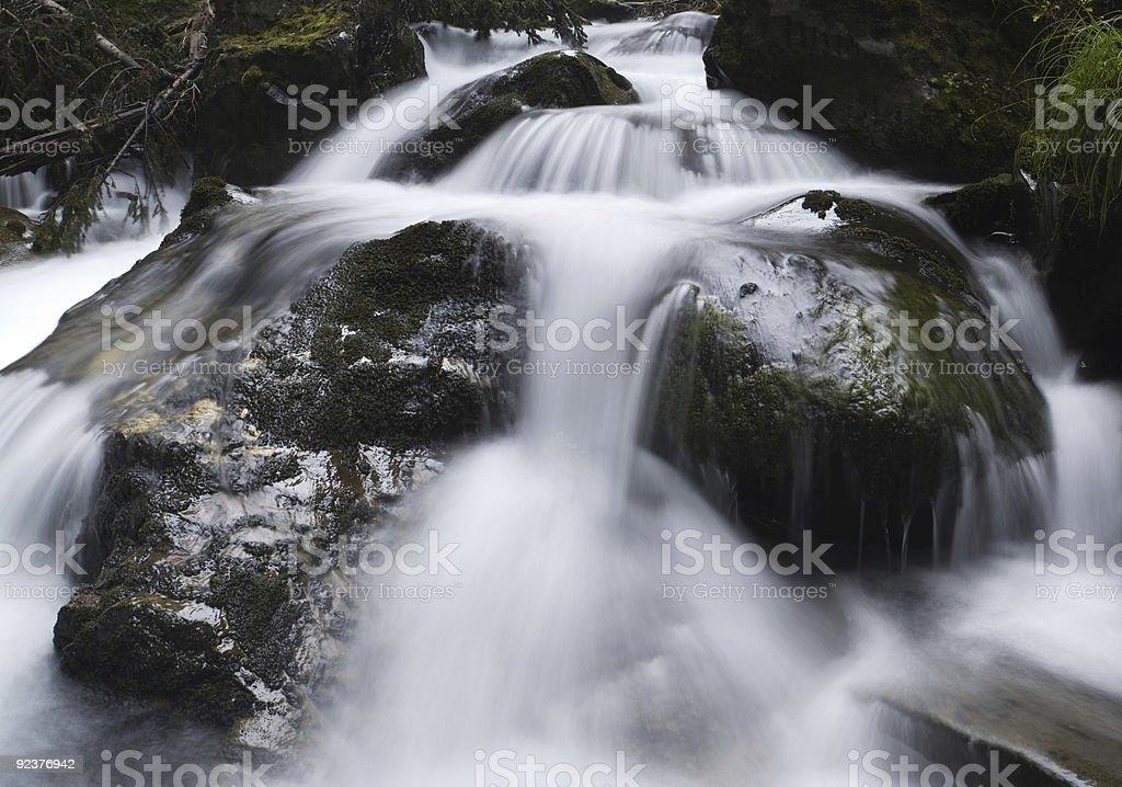 Cascading waterfall moving towards the camera royalty-free stock photo