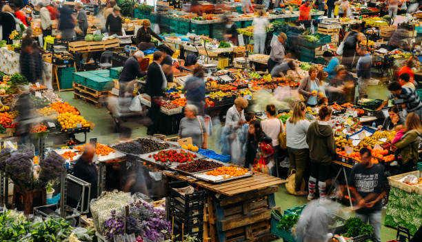 Cascais food market is the place to go if you want fresh local produce and fish. Busiest days are Wed and Sat stock photo
