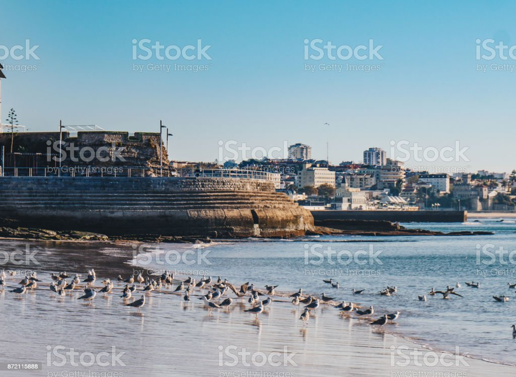 Cascais Panorama with the beach and promenade in Cascais, Portugal stock photo