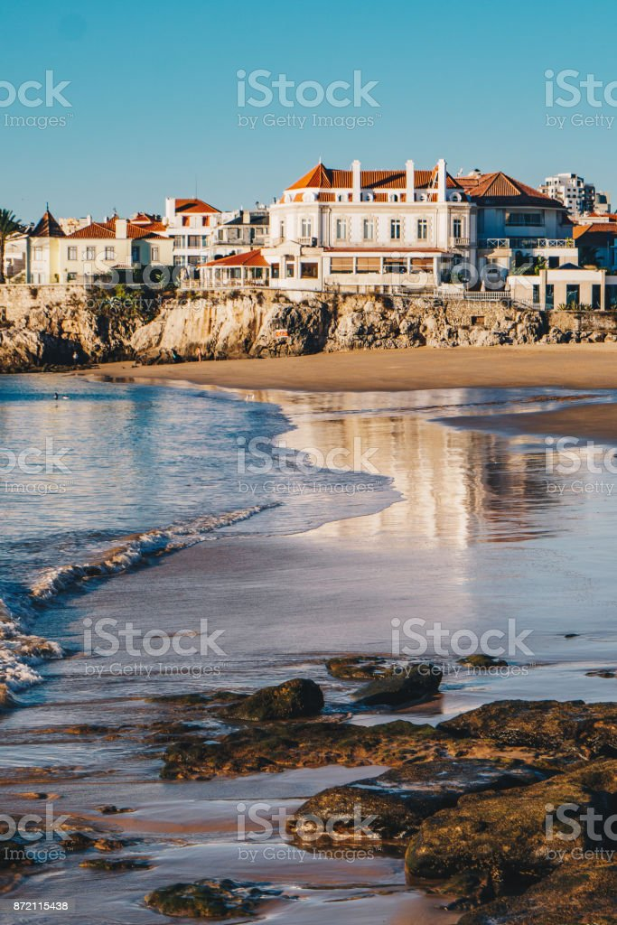 Cascais, Portugal beach in the morning with no tourists on the beach stock photo