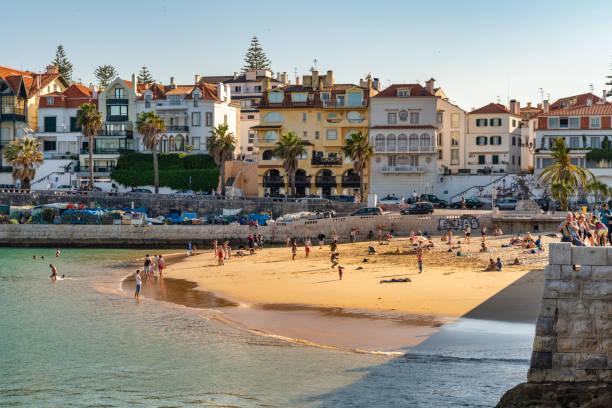 Cascais, Portugal public beach stock photo