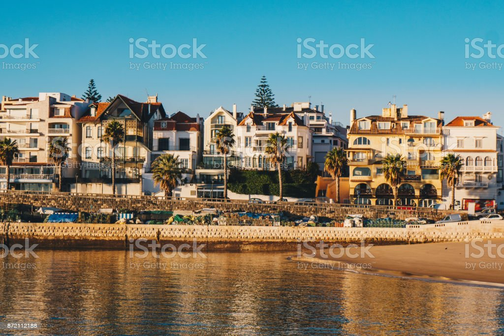 Cascais promenade sea view at sunrise in the morning. Cascais travel destination in Lisbon district, Portugal stock photo