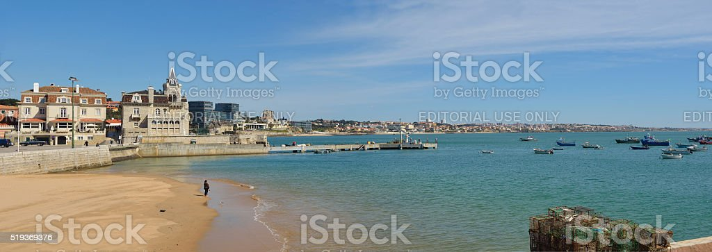 Cascais seafront panorama Portugal stock photo