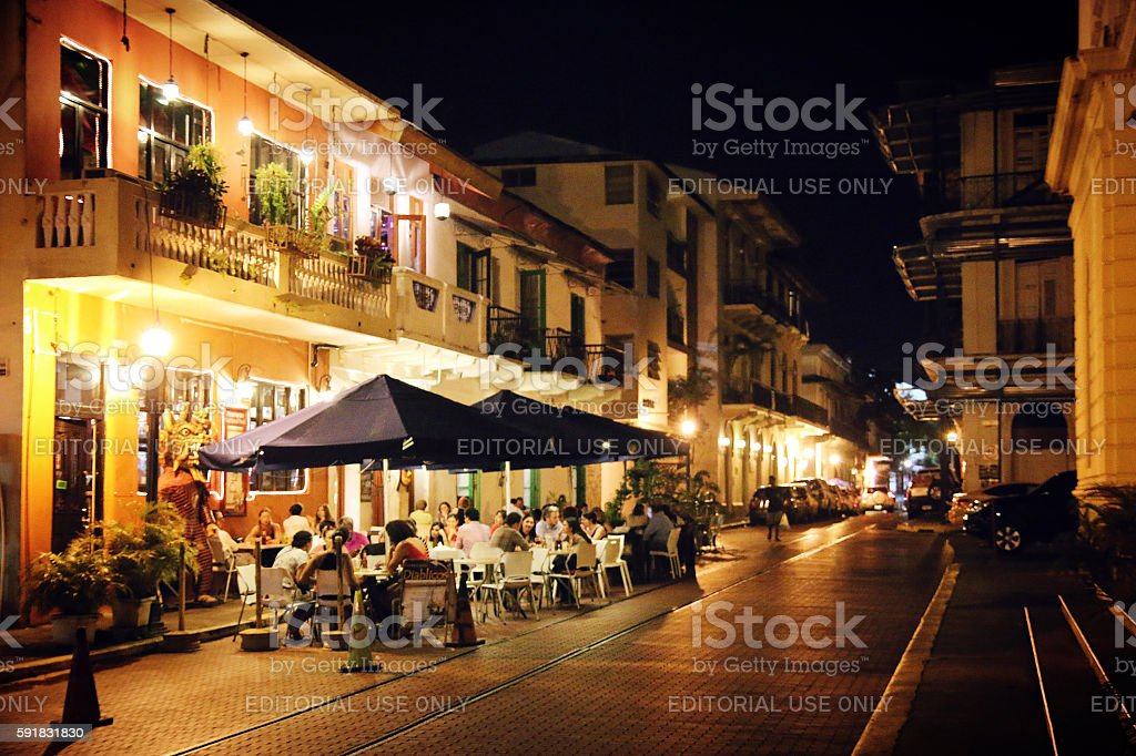 Casco Viejo Nightlife stock photo