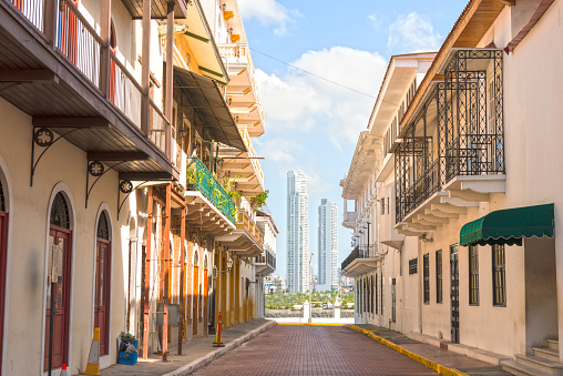 Casco Viejo street in an old part of Panama City