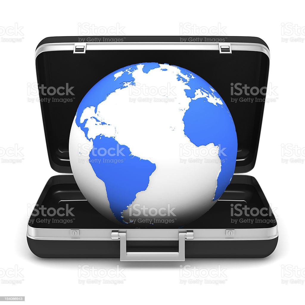 Case and globe on white background. isolated  3D image royalty-free stock photo