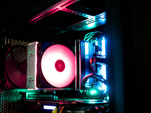 case mod concept with rgb cpu air cooler, case led kit, rgb ram. - esports stock photos and pictures