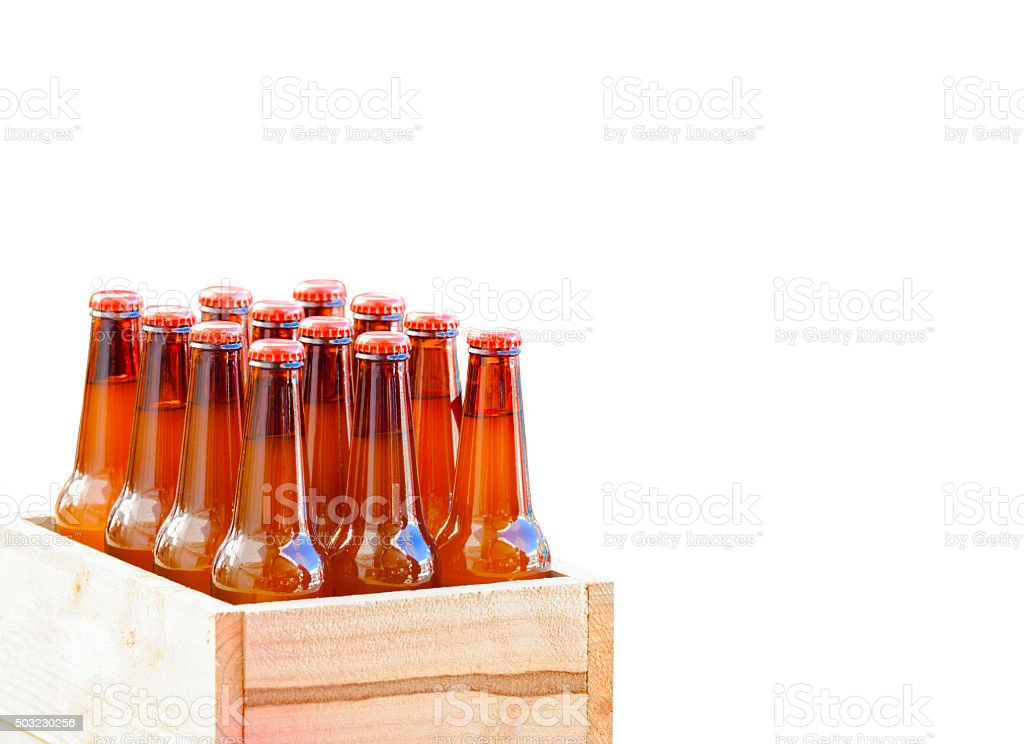 Case of beer, glass bottles in wooden box, copy space stock photo