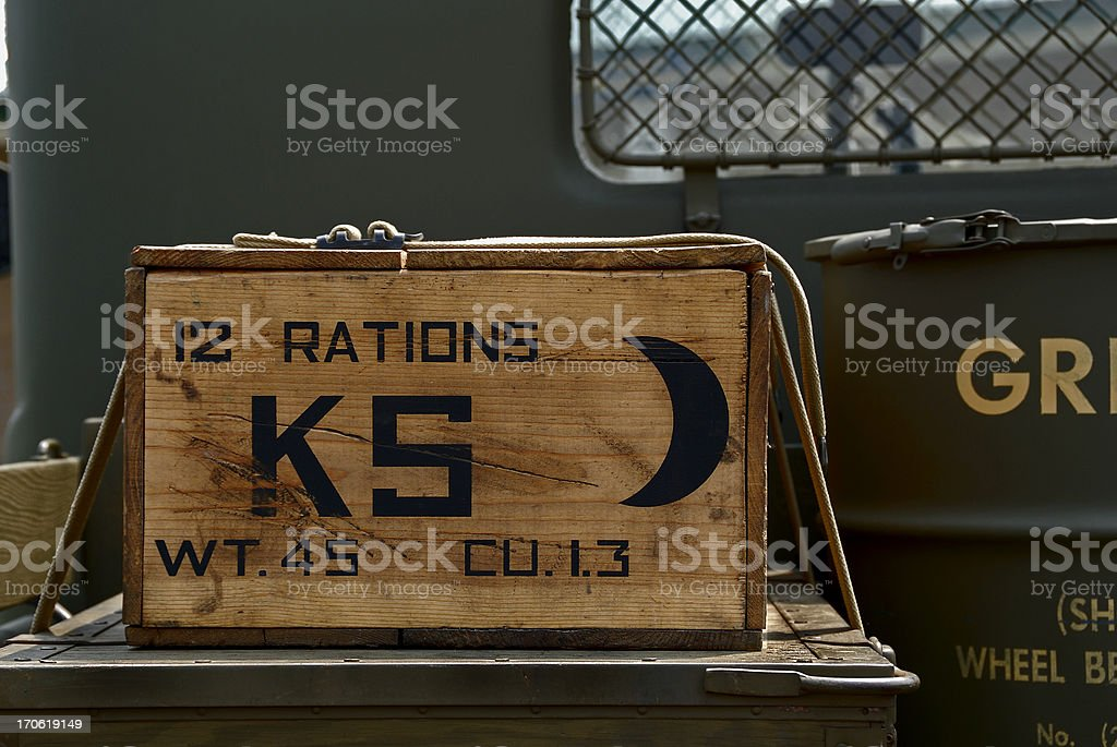 Case of K Rations on Restored Antique Military Vehicle stock photo