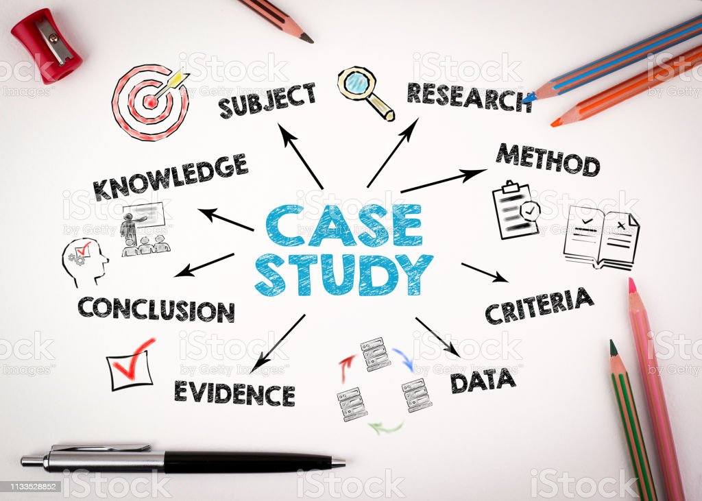 Case study Concept. Chart with keywords and icons - Royalty-free Analyzing Stock Photo
