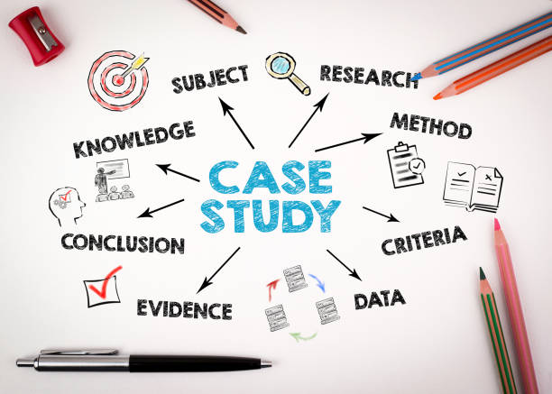 Case study Concept. Chart with keywords and icons stock photo
