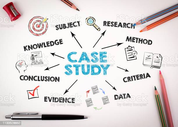Case Study Concept Chart With Keywords And Icons Stock Photo - Download Image Now