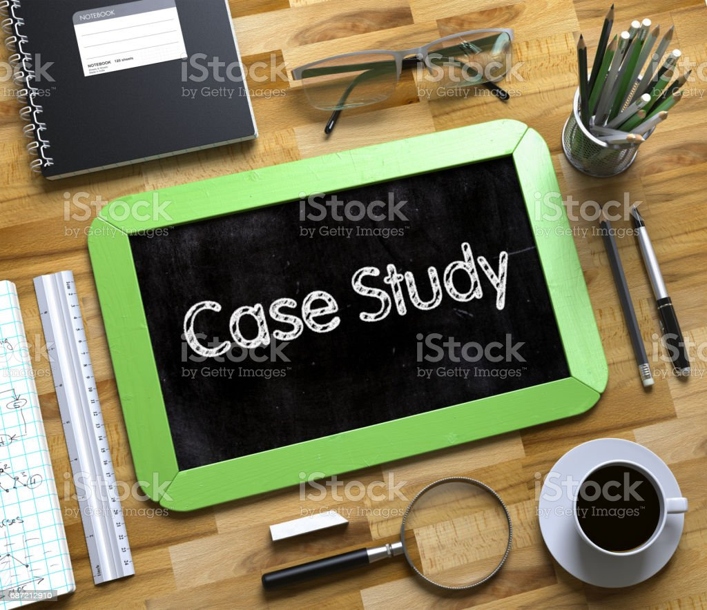 Case Study Concept on Small Chalkboard. 3D stock photo
