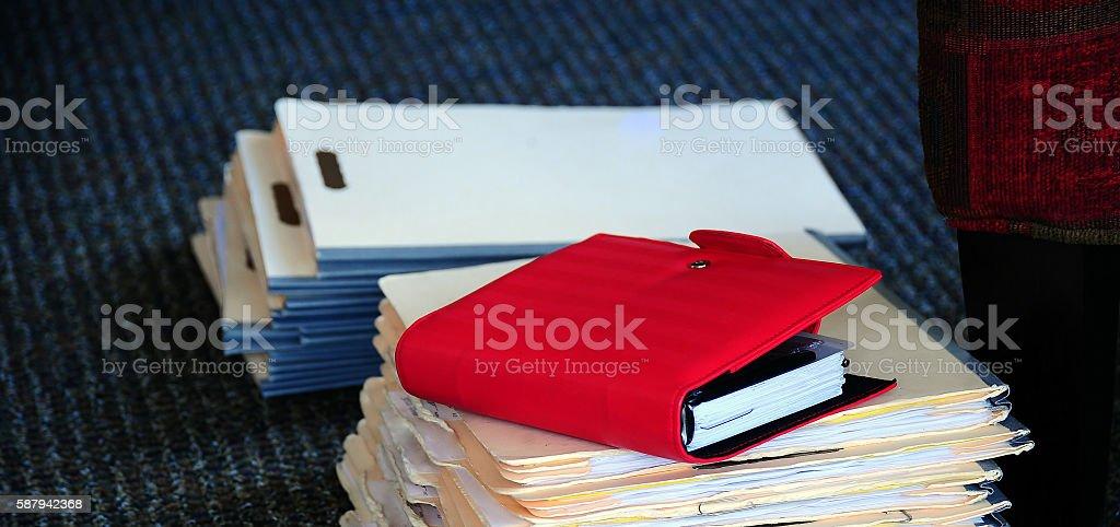 Case study files. stock photo