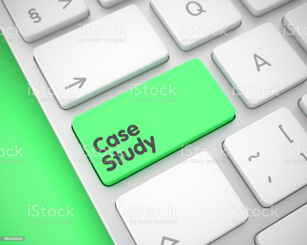 Case Study - Message on the Green Keyboard Button. 3D stock photo