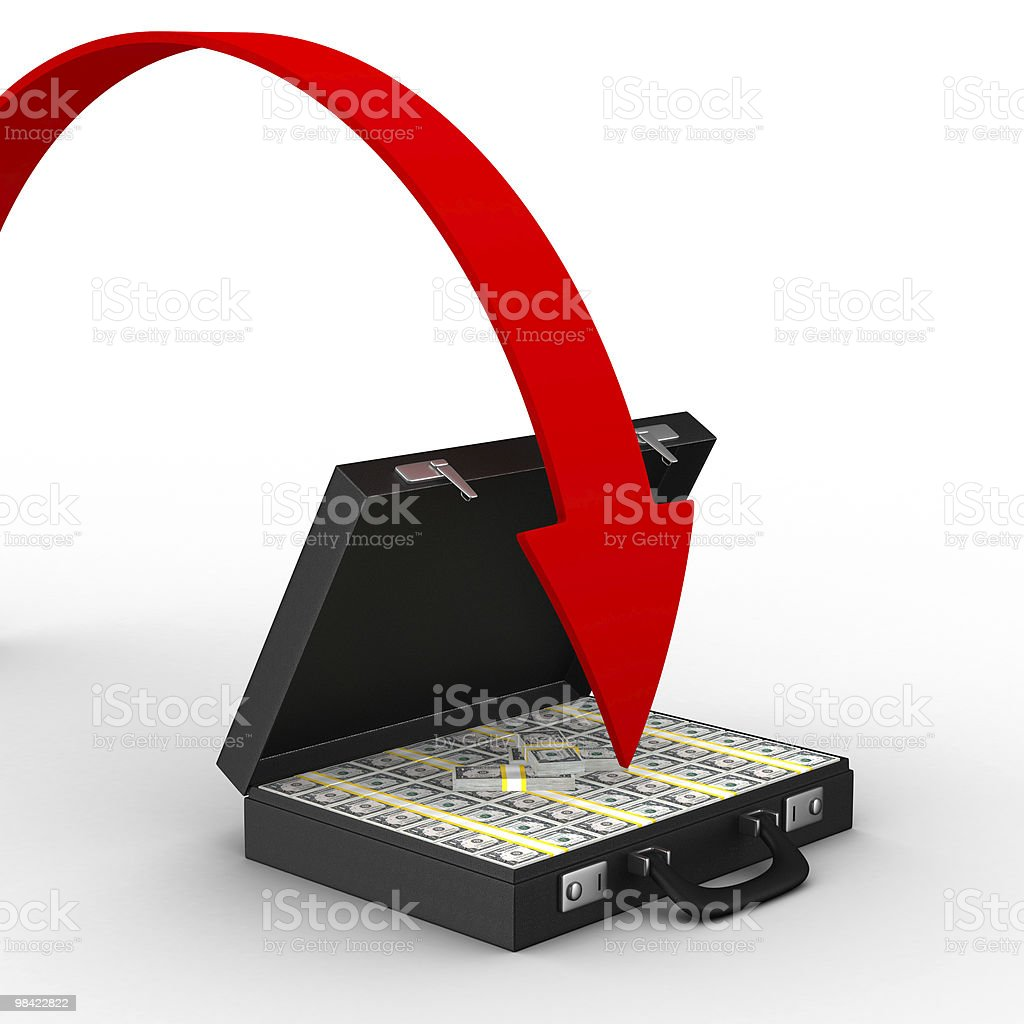 Case with money on white background. isolated  3D image royalty-free stock photo
