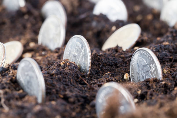 cash American coins stock photo