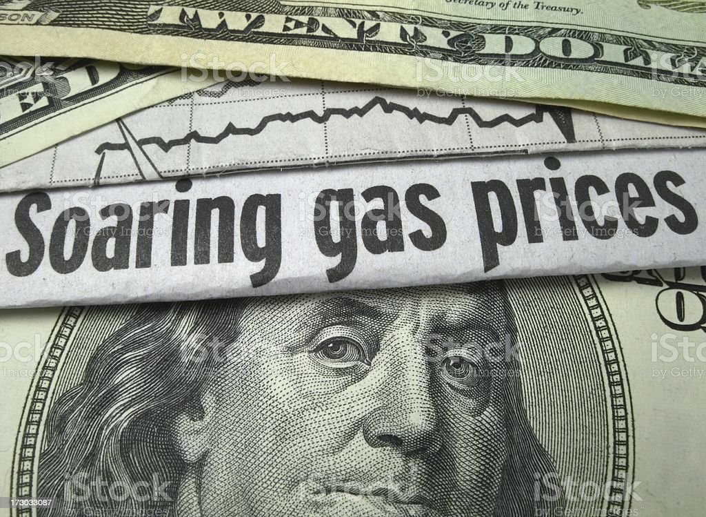 Cash and Gas Prices stock photo
