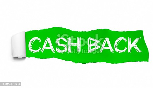 1136804881 istock photo Cash Back appearing behind green torn paper 1135061661