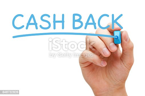 istock Cash Back Handwriting With Blue Marker 648732826