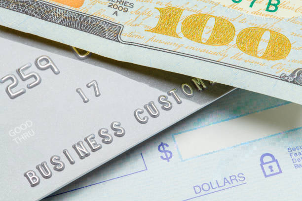 cash check or charge - blank check stock photos and pictures