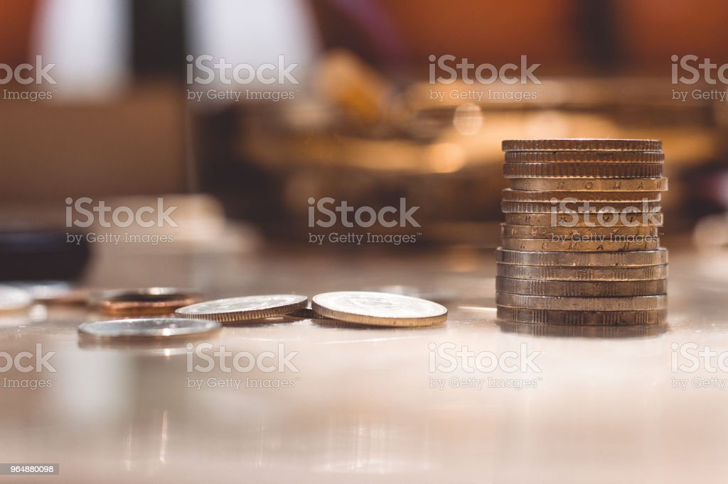 Cash, coins folded into a column, euro, cents, small money. royalty-free stock photo