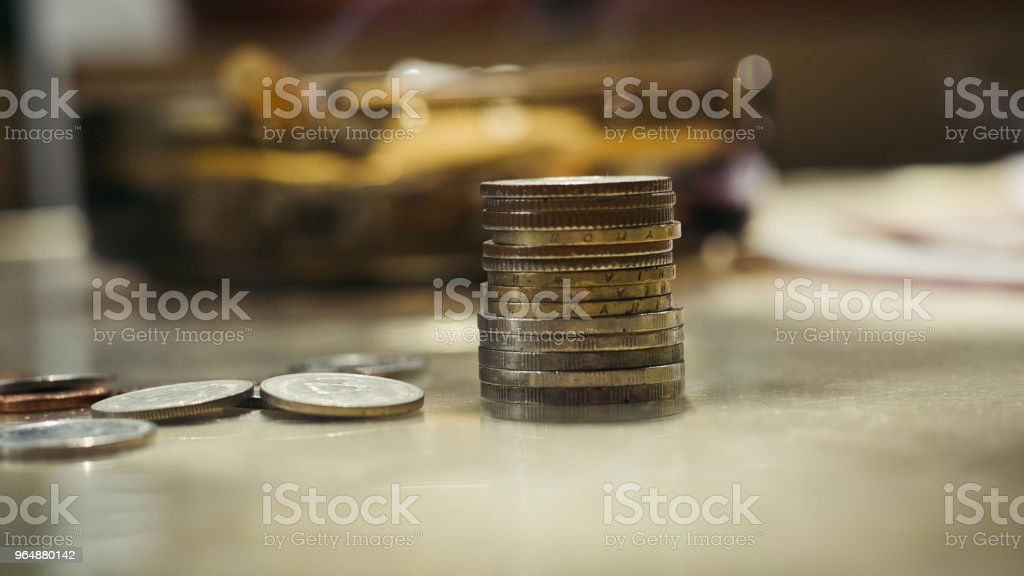 Cash, coins folded into a column, euro, cents, small money royalty-free stock photo
