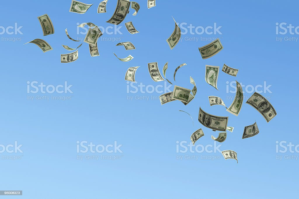 Cash falling from sky. stock photo